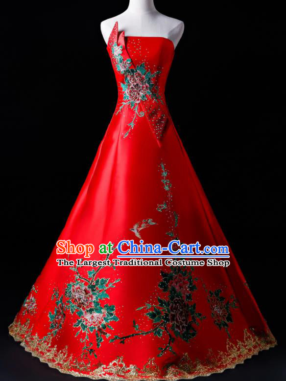 Top Grade Catwalks Red Strapless Full Dress Compere Chorus Costume for Women