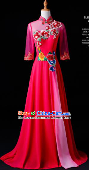 Chinese Traditional National Rosy Cheongsam Compere Chorus Costume Folk Dance Full Dress for Women