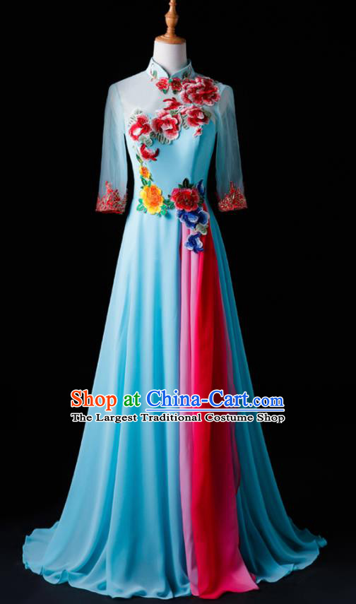 Chinese Traditional National Blue Cheongsam Compere Chorus Costume Folk Dance Full Dress for Women
