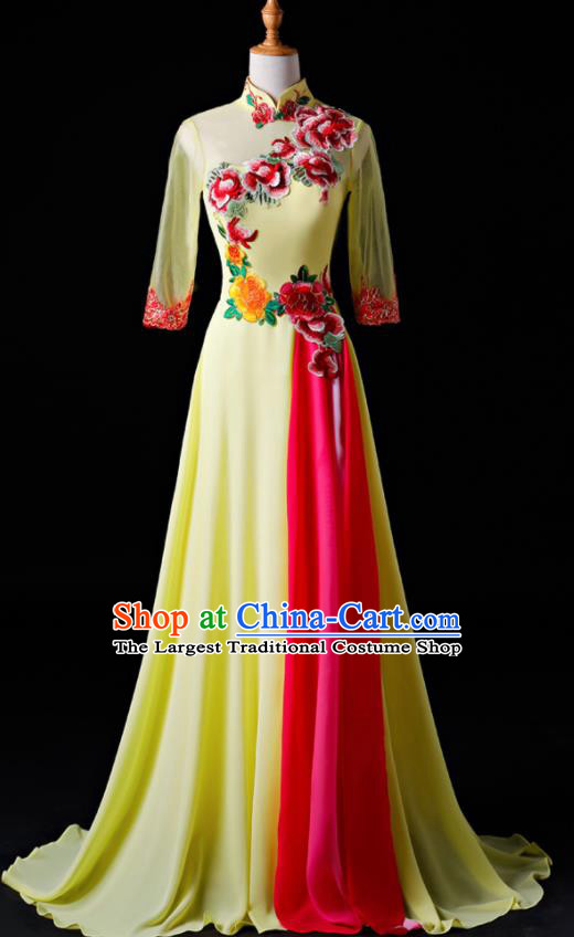 Chinese Traditional National Yellow Cheongsam Compere Chorus Costume Folk Dance Full Dress for Women