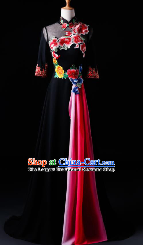 Chinese Traditional National Black Cheongsam Compere Chorus Costume Folk Dance Full Dress for Women