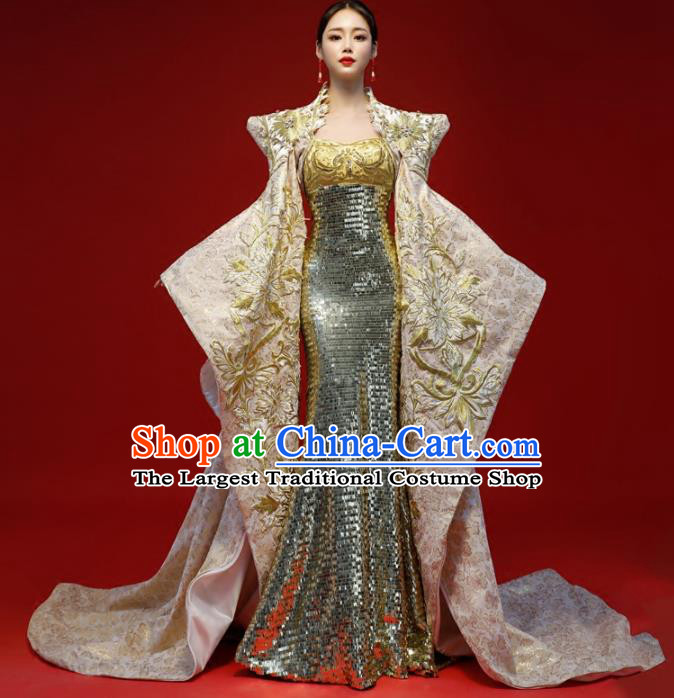 Top Grade Catwalks Golden Trailing Full Dress Compere Chorus Costume for Women