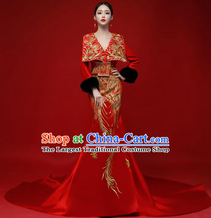 Top Grade Catwalks Red Trailing Full Dress Compere Chorus Costume for Women