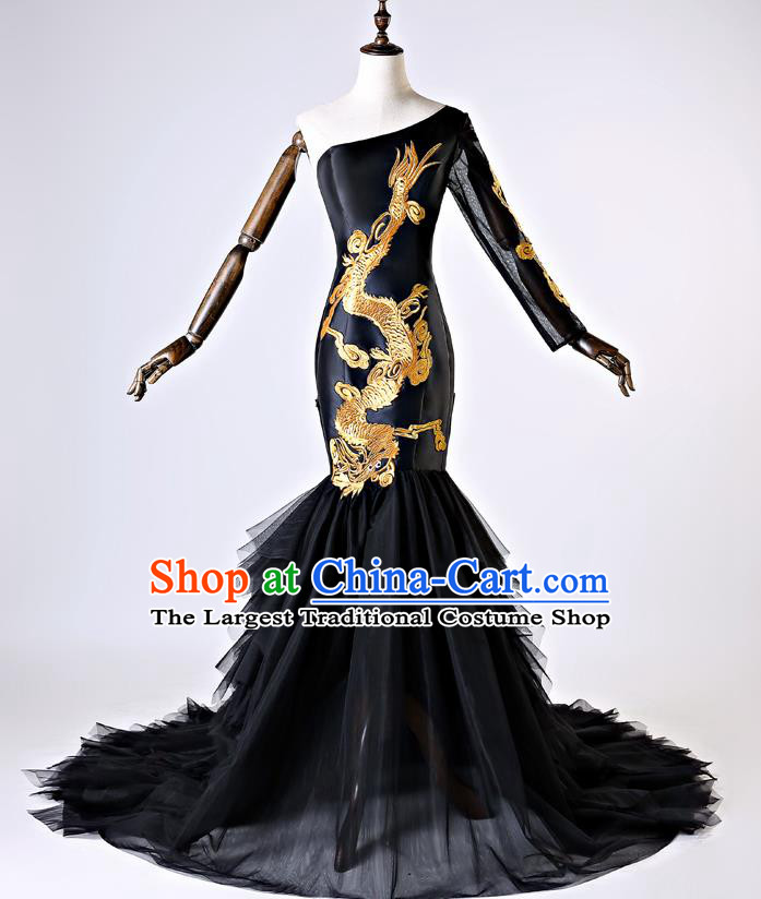 Chinese Traditional Black Veil Full Dress Compere Chorus Costume for Women