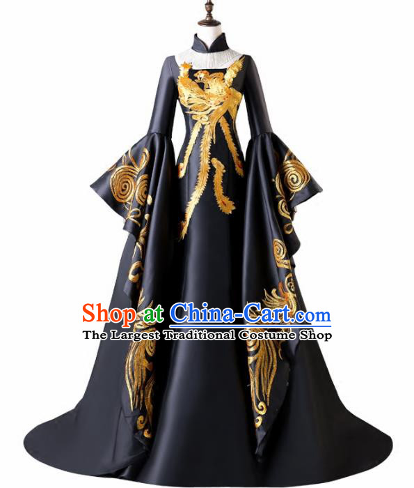 Chinese Traditional Phoenix Pattern Black Full Dress Compere Chorus Costume for Women