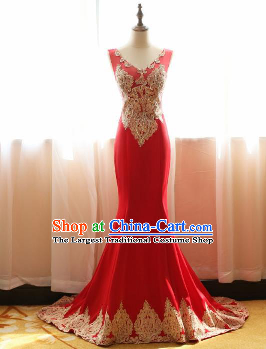 Chinese Traditional Compere Red Trailing Full Dress Embroidered Cheongsam Chorus Costume for Women