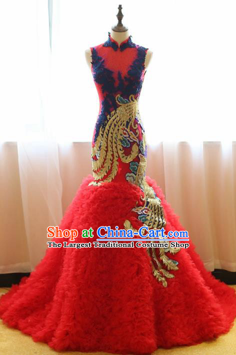 Chinese Traditional Compere Red Trailing Full Dress Embroidered Phoenix Cheongsam Chorus Costume for Women