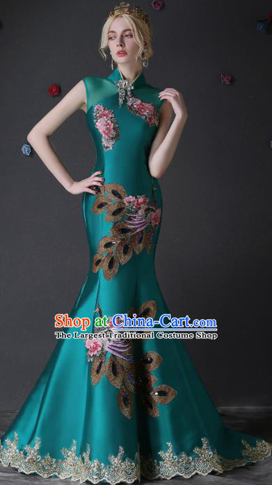 Chinese Traditional Compere Green Full Dress Embroidered Phoenix Cheongsam Chorus Costume for Women