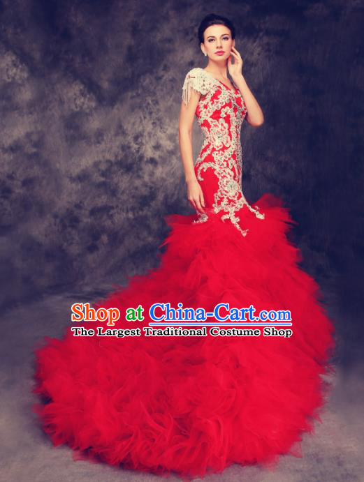 Chinese Traditional Compere Red Veil Full Dress Cheongsam Chorus Costume for Women