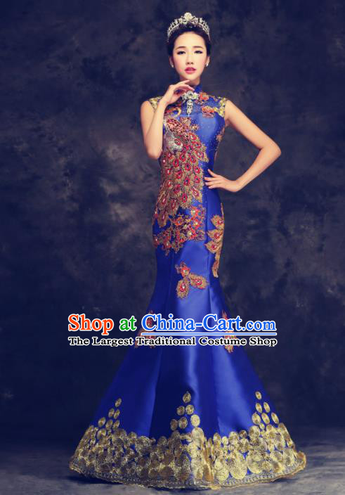 Chinese Traditional Compere Full Dress Royalblue Cheongsam Chorus Costume for Women