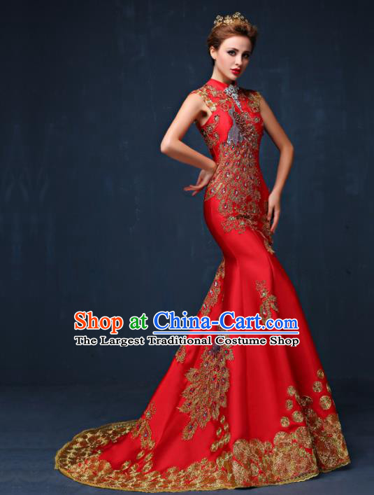 Chinese Traditional Compere Full Dress Red Cheongsam Chorus Costume for Women