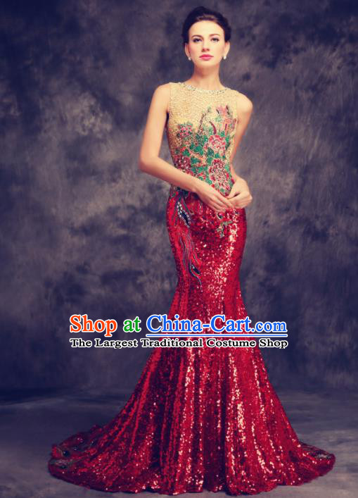 Chinese Traditional Compere Wine Red Full Dress Chorus Costume for Women