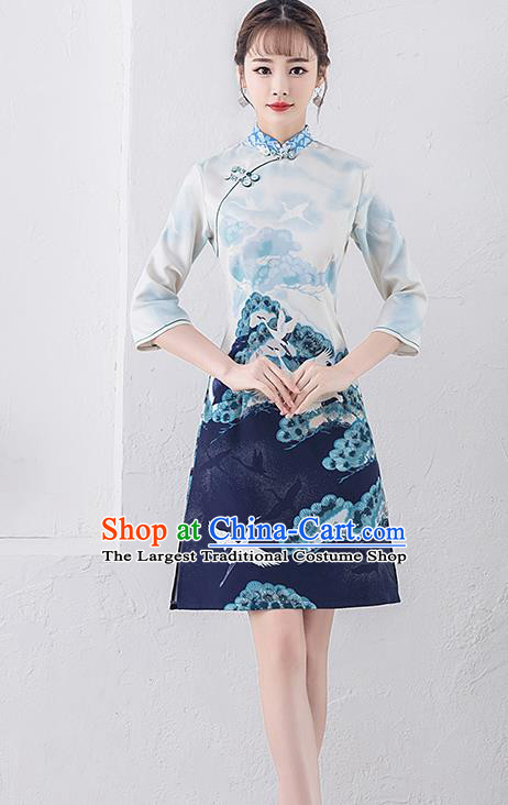Chinese Traditional Full Dress Printing Crane Cheongsam Compere Costume for Women