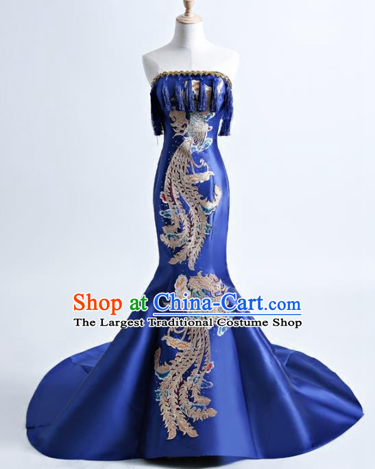 Chinese Traditional Phoenix Pattern Royalblue Full Dress Compere Chorus Costume for Women