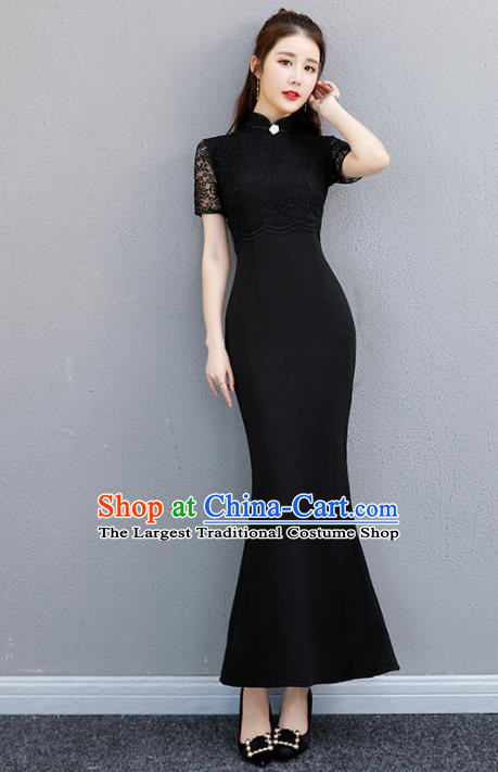 Chinese Traditional Full Dress Black Lace Cheongsam Compere Costume for Women
