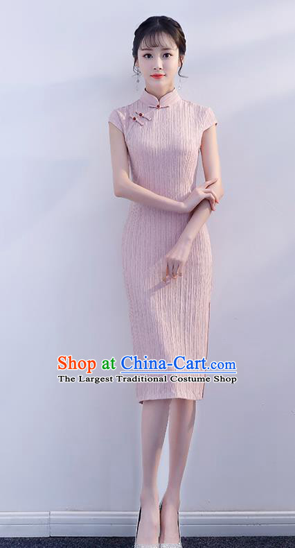 Chinese Traditional Pink Qipao Dress Short Cheongsam Compere Costume for Women