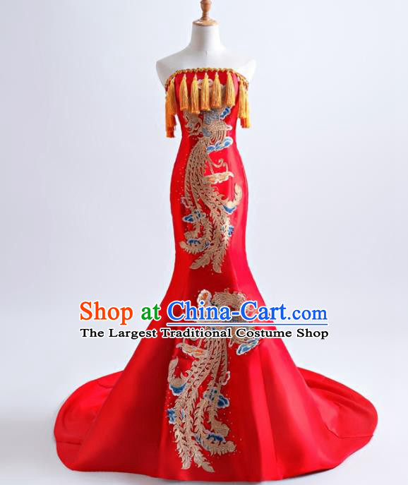 Chinese Traditional Phoenix Pattern Red Full Dress Compere Chorus Costume for Women