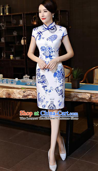 Chinese Traditional Printing Qipao Dress Retro Cheongsam Compere Costume for Women