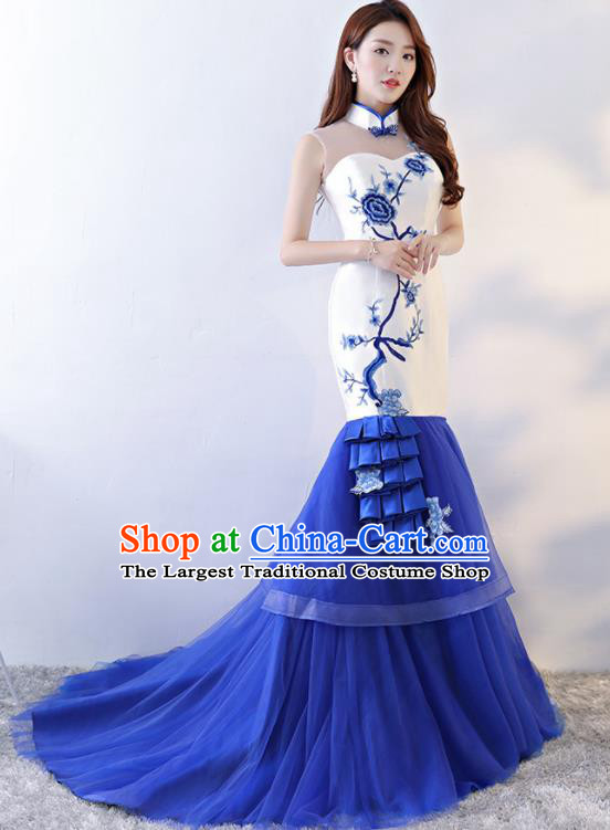 Chinese Traditional Qipao Dress Blue Veil Trailing Cheongsam Compere Costume for Women