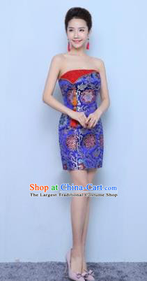 Chinese Traditional Qipao Dress Royalblue Short Cheongsam Compere Costume for Women