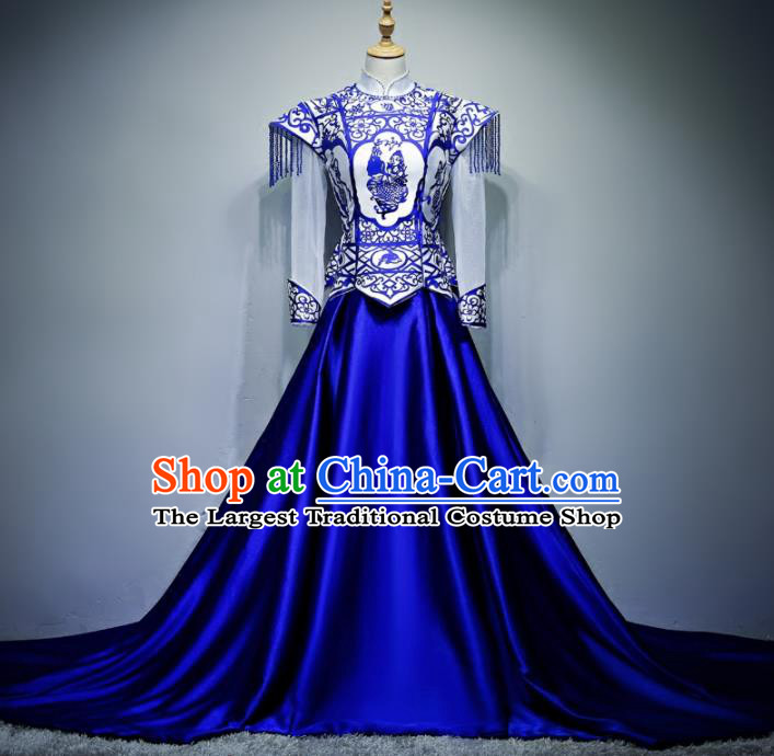 Chinese Traditional Blue and White Porcelain Full Dress Compere Chorus Costume for Women