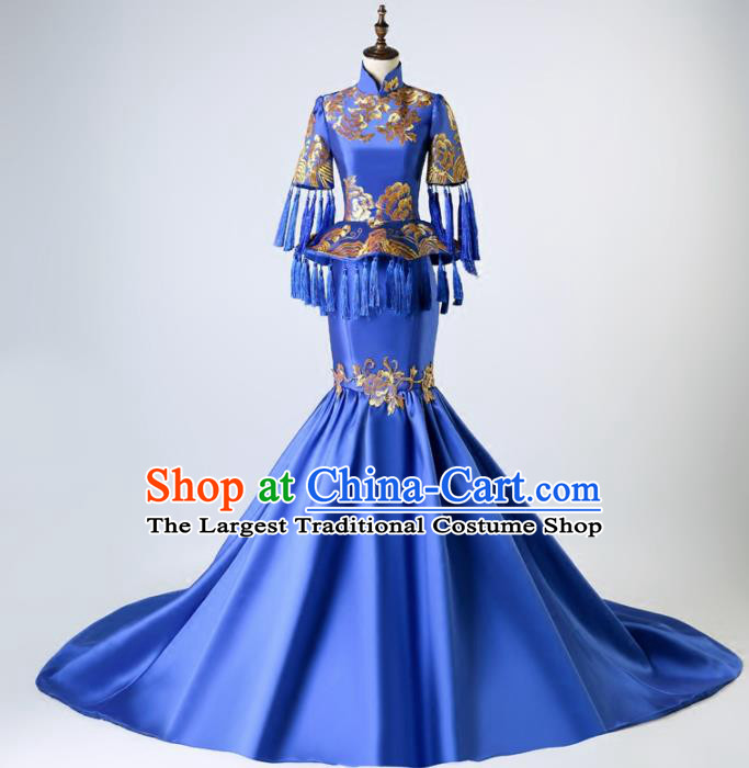 Chinese Traditional Embroidered Full Dress Compere Chorus Costume for Women