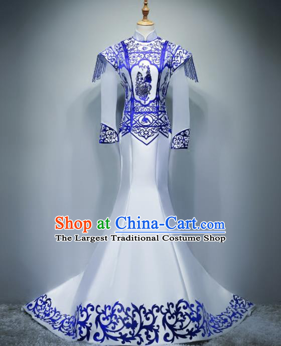 Chinese Traditional White Trailing Full Dress Compere Chorus Costume for Women