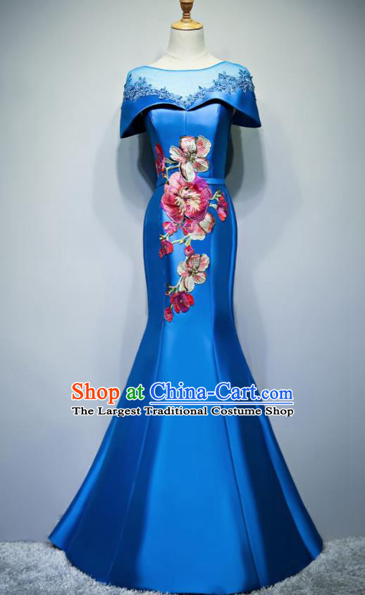 Chinese Traditional Embroidered Blue Full Dress Compere Chorus Costume for Women