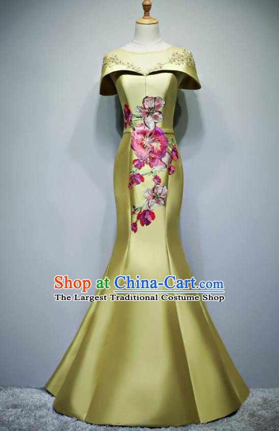 Chinese Traditional Embroidered Yellow Full Dress Compere Chorus Costume for Women