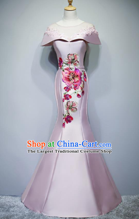 Chinese Traditional Embroidered Pink Full Dress Compere Chorus Costume for Women