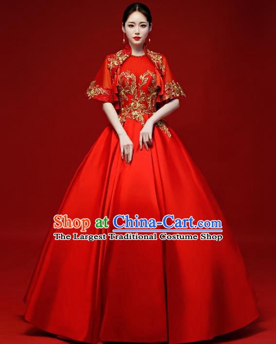 Chinese Traditional National Red Wedding Dress Compere Chorus Costume Full Dress for Women