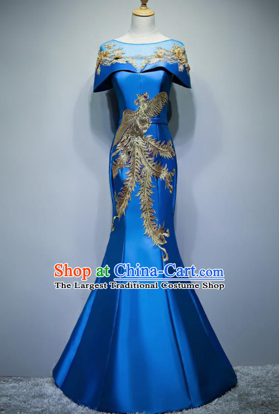 Chinese Traditional Embroidered Phoenix Blue Full Dress Compere Chorus Costume for Women
