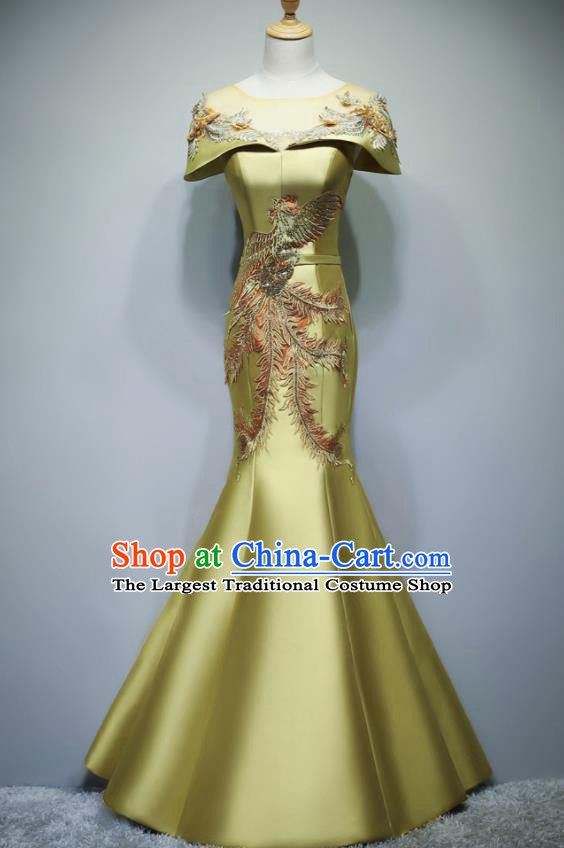 Chinese Traditional Embroidered Phoenix Yellow Full Dress Compere Chorus Costume for Women