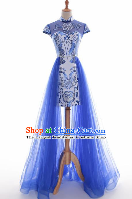 Chinese Traditional Blue Veil Cheongsam Full Dress Compere Chorus Costume for Women