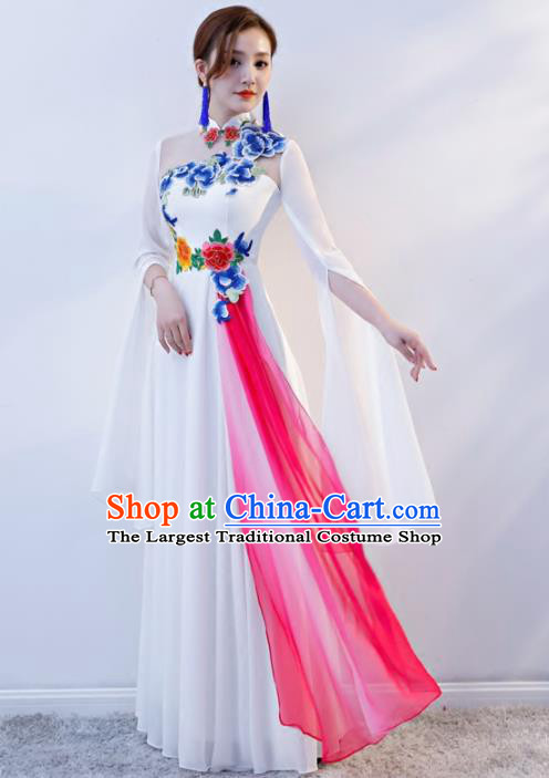 Chinese Traditional National White Cheongsam Compere Chorus Costume Full Dress for Women