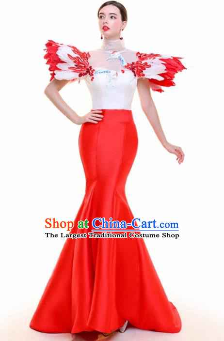 Top Grade Catwalks Feather Red Trailing Full Dress Compere Chorus Costume for Women
