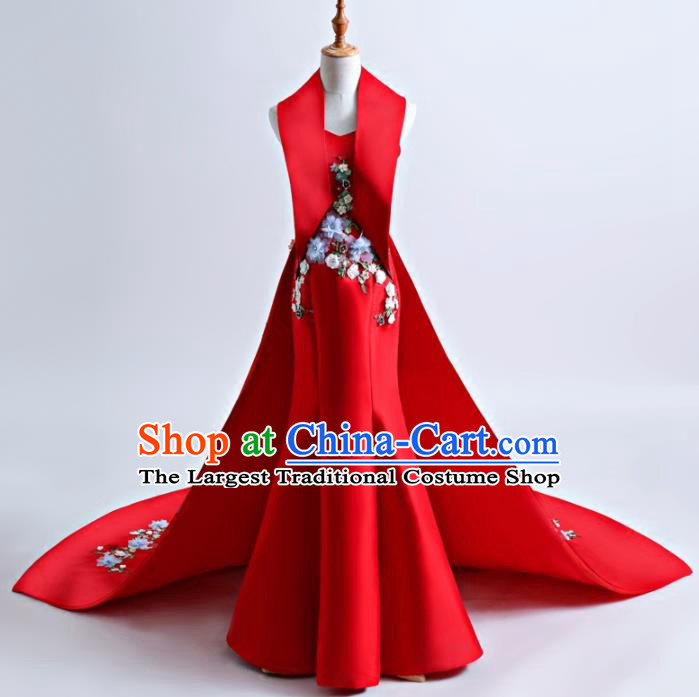 Top Grade Catwalks Red Mermaid Full Dress Compere Chorus Costume for Women