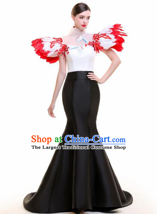 Top Grade Catwalks Feather Black Trailing Full Dress Compere Chorus Costume for Women