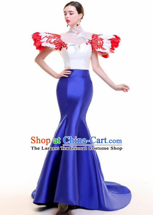Top Grade Catwalks Feather Royalblue Trailing Full Dress Compere Chorus Costume for Women