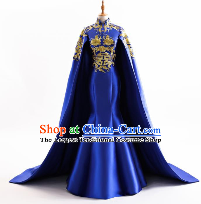 Chinese Traditional Cheongsam Wedding Royalblue Full Dress Compere Chorus Costume for Women