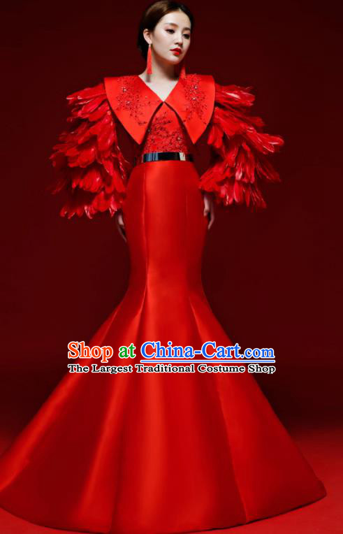 Top Grade Wedding Red Feather Mermaid Full Dress Compere Chorus Costume for Women