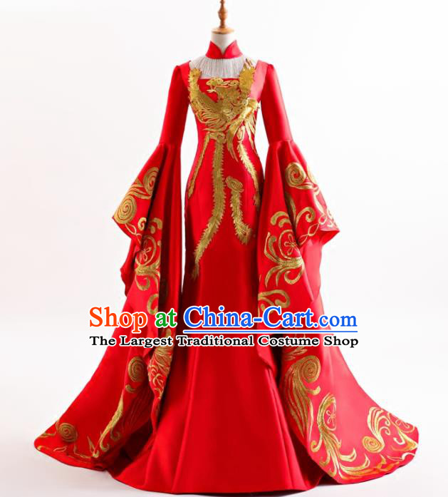 Chinese Traditional Embroidered Red Cheongsam Full Dress Compere Chorus Costume for Women