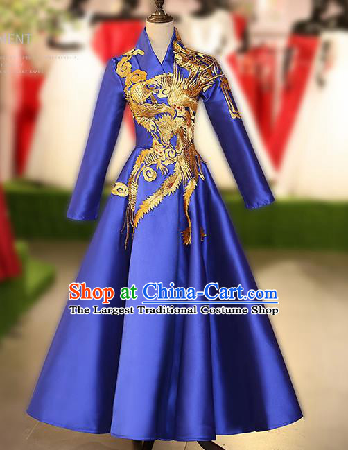 Chinese Traditional Embroidered Phoenix Full Dress Compere Chorus Costume for Women