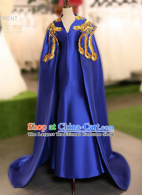 Chinese Traditional Embroidered Phoenix Cloak Blue Full Dress Compere Chorus Costume for Women