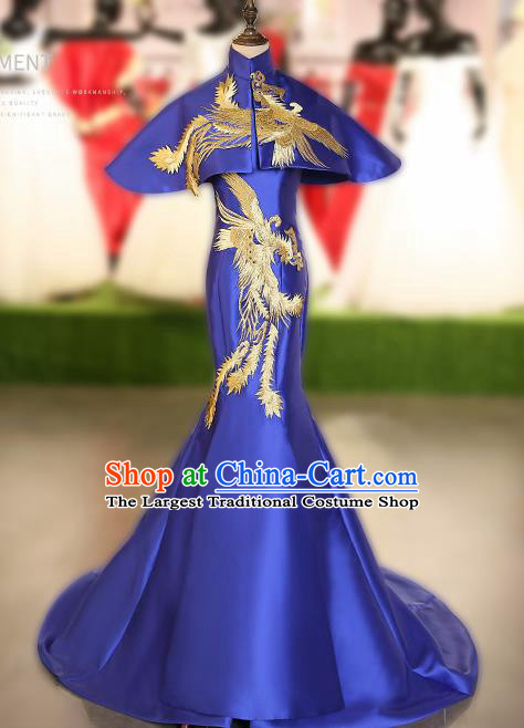 Chinese Traditional Embroidered Phoenix Royalblue Full Dress Compere Chorus Costume for Women