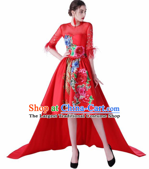 Chinese Traditional Embroidered Peony Red Full Dress Compere Chorus Costume for Women