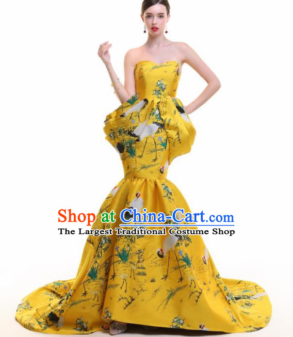 Chinese Traditional Cheongsam Yellow Trailing Full Dress Compere Chorus Costume for Women