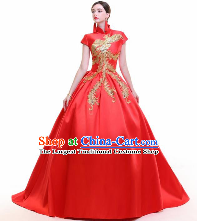 Chinese Traditional Embroidered Phoenix Red Bubble Full Dress Compere Chorus Costume for Women