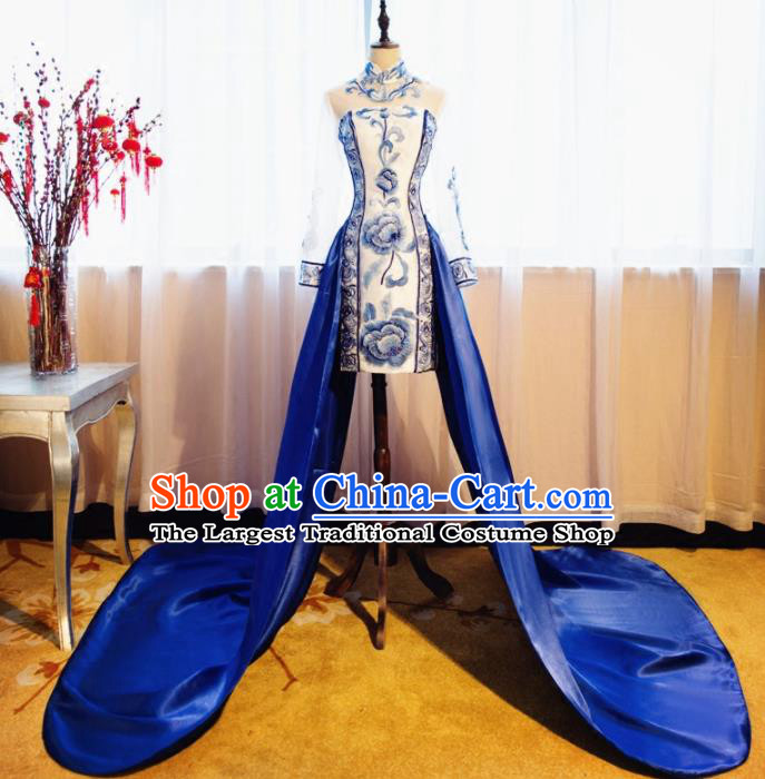Chinese Traditional Embroidered Peony Cheongsam Compere Chorus Costume for Women