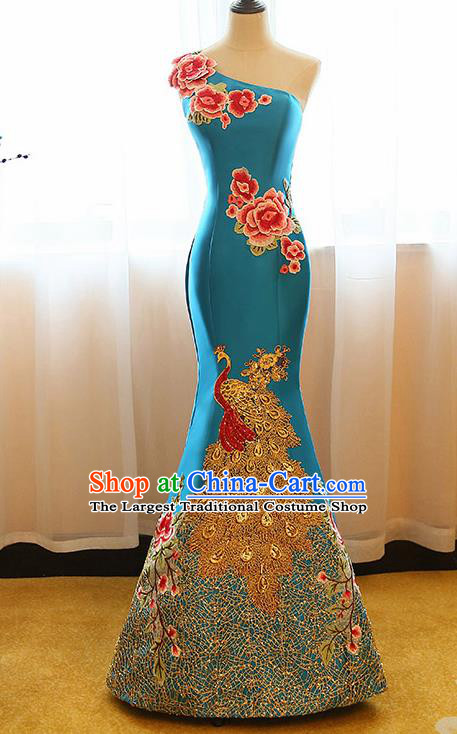 Chinese Traditional Compere Peacock Blue Full Dress Cheongsam Chorus Costume for Women